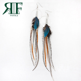 ruby feathers リング付き羽根ピアス