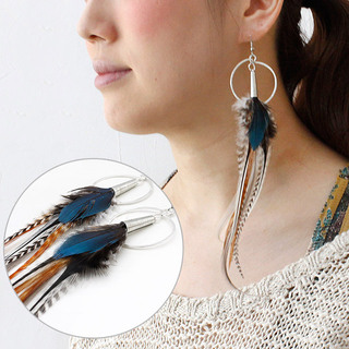 RUBY FEATHERS FRANCE リング付き羽根ピアス BLUE(ブルー)|ruby feathers リング付き羽根ピアス